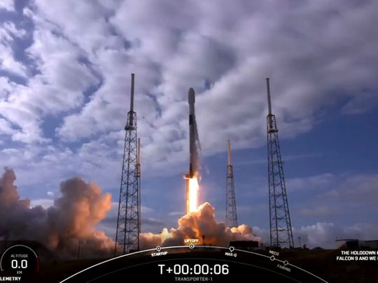 The Spacex Falcon 9 liftoff in Cape Canaveral, Florida.