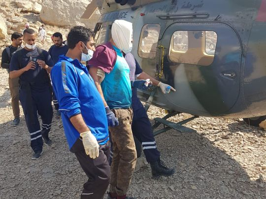 Ras Al Khaimah police air wing rescue injured hiker