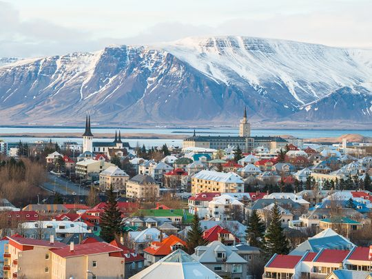 A view of Reykjavik, the capital city of Iceland.