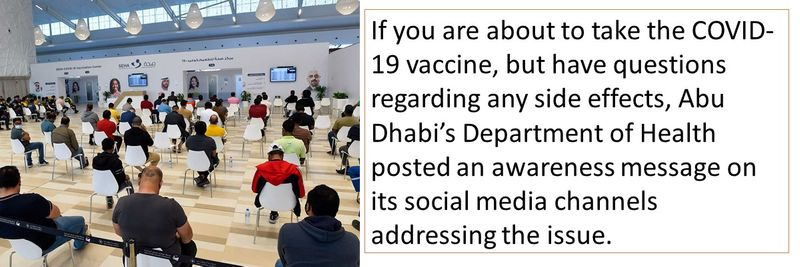 If you are about to take the COVID-19 vaccine, but have questions regarding any side effects, Abu Dhabi's Department of Health posted an awareness message on its social media channels addressing the issue.