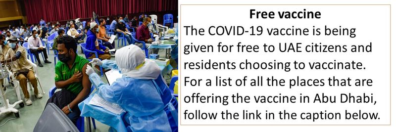 The COVID-19 vaccine is being given for free to UAE citizens and residents choosing to vaccinate. For a list of all the places that are offering the vaccine in Abu Dhabi, follow the link in the caption below.