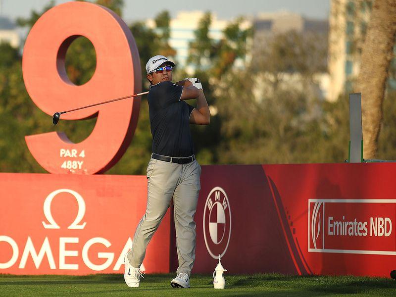 American Kurt Kitayama on the ninth tee at the Omega Dubai Desert Classic