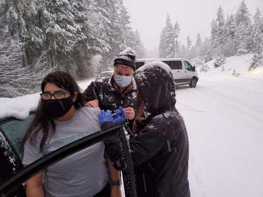 Oregon vaccination snowstorm US covid