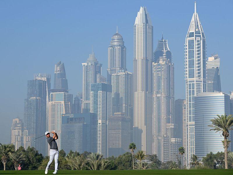 Paul Casey in action at the Omega Dubai Desert Classic