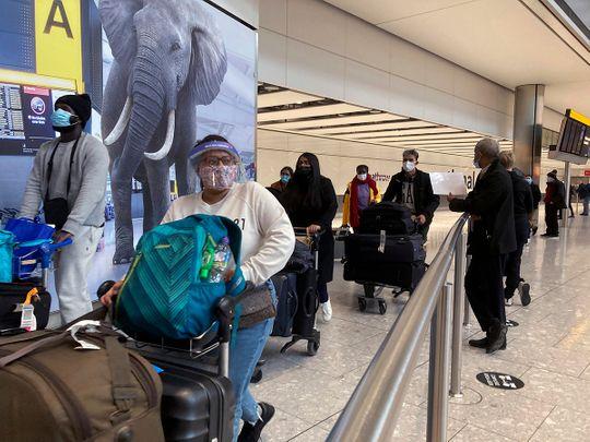 Stock London Heathrow Airport UK Britain passengers