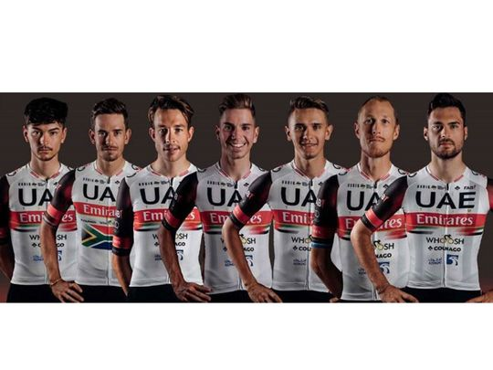 Alessandro Covi, left, and the UAE Team Emirates line-up for the Grand Prix Cycliste la Marseillaise on January 31.