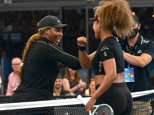 Serena Williams greets Naomi Osaka in Adelaide