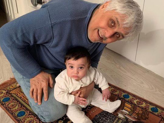 Abbas Khan with his grandson Hadi