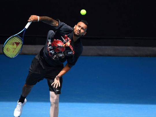 Australia's Nick Kyrgios services during a practice session in Melbourne on Saturday