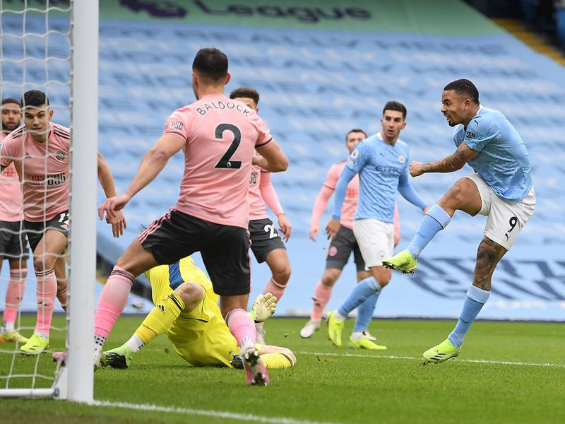Gabriel Jesus opens the scoring for Manchester City against Sheffield