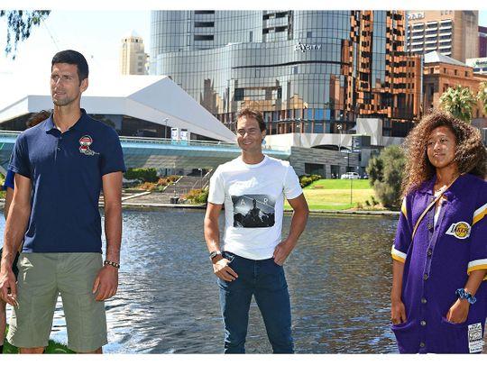 Rafael Nadal joins women's world No. 3 Naomi Osaka and men's world No. 1 Novak Djokovic in Adelaide