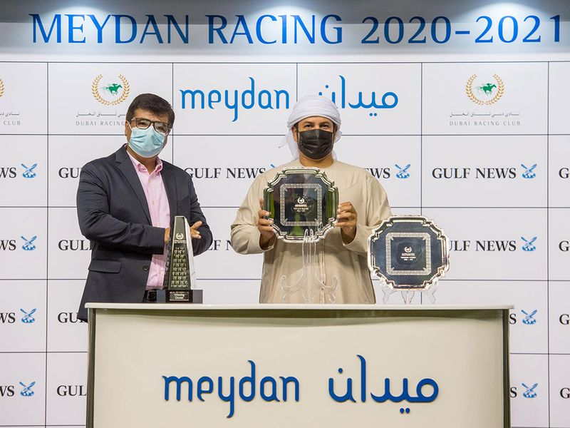Bobby Naqvi Gulf News Print Editor, and Helal Alalawi following the Gulf News Handicap