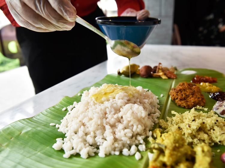 Ghee served on rice for Onasadhya