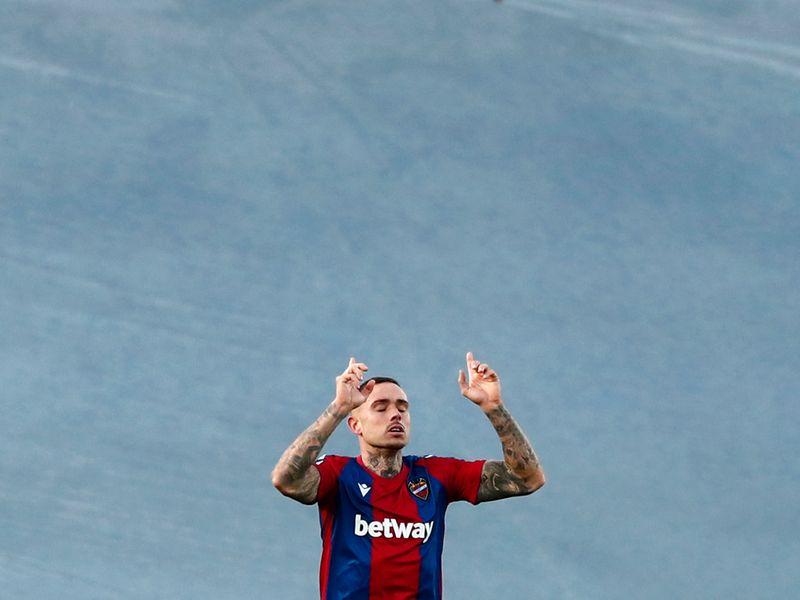 Levante's Roger Marti celebrates.