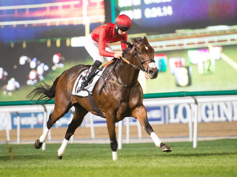 Moshaher wins the Agnc3 Handicap at Meydan