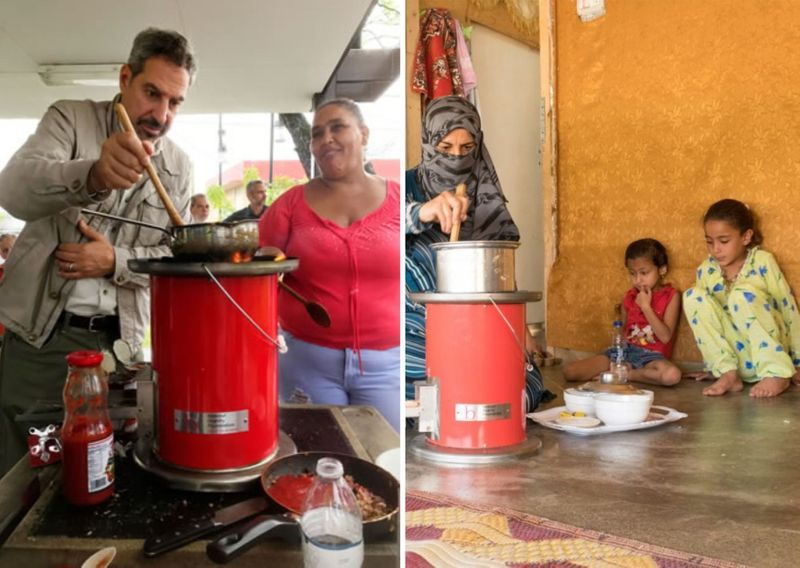 The relief stove uses less firewood (or paper)