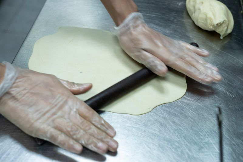 Don't roll the dough out too thin or thick. Here's how it should look.