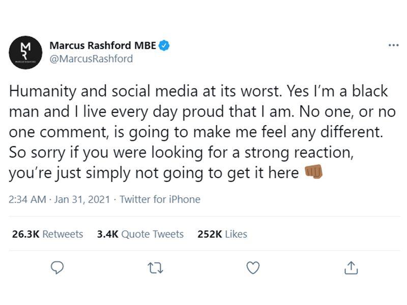 Marcus Rashford responds to online racism.