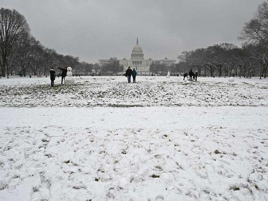 Snow Capitol Washington US national mall
