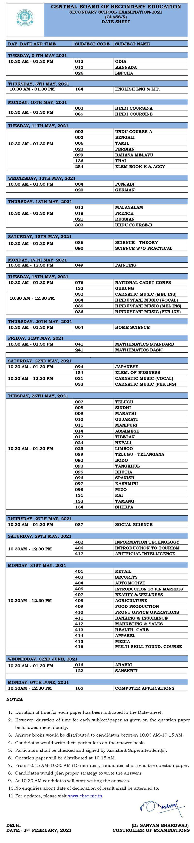 CBSE exam schedule