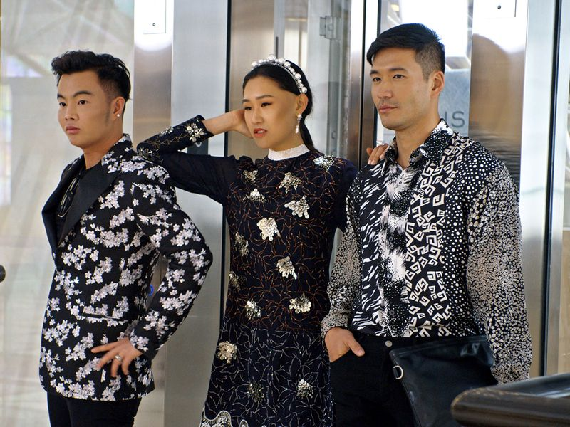 "Kane Lim, Jaime Xie and Kevin Kreider in episode 8 ""Will You Marry Me?"" of Bling Empire: Season 1. c. Courtesy of Netflix © 2021"
