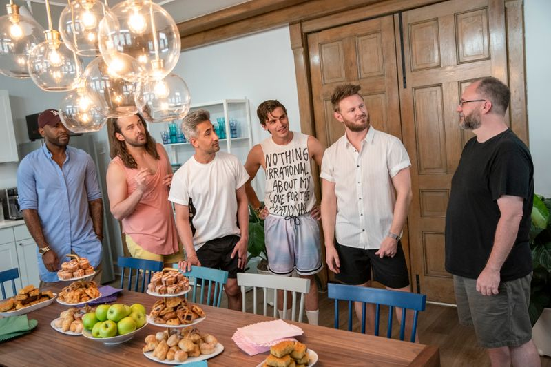 QUEER EYE (L to R) KARAMO BROWN, JONATHAN VAN NESS, TAN FRANCE, ANTONI POROWSKI, BOBBY BERK, and NOAH HEPLER in episode 501 of QUEER EYE. Cr. RYAN COLLERD/NETFLIX © 2020