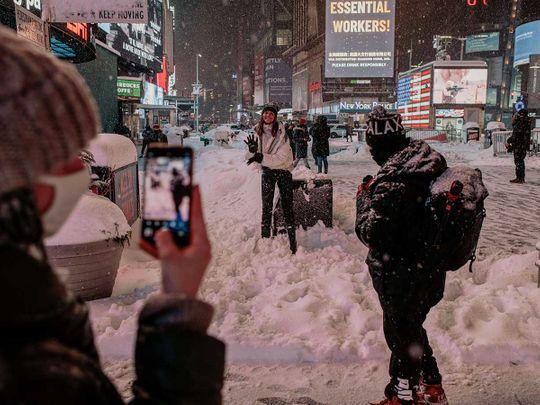 Times Square New York snow