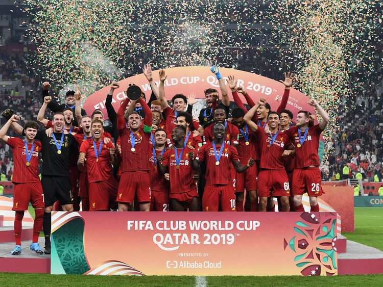 Liverpool lift 2019 Club World Cup trophy.