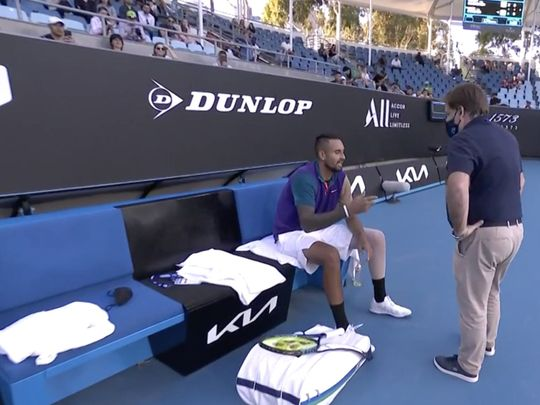 Nick Kyrgios was unhappy in Australia after a time violation