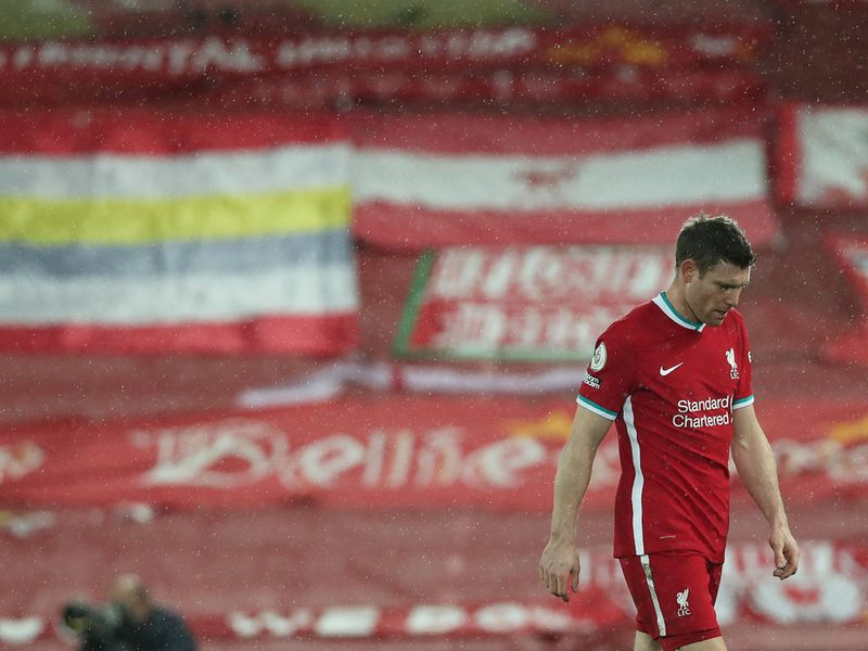 Club veteran James Milner had his head bowed after Liverpool's defeat to Brighton on February 3, 2021.