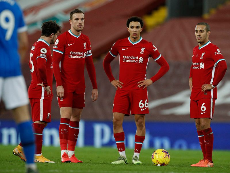 Liverpool players stand around after Brighton's goal on February 3, 2021.