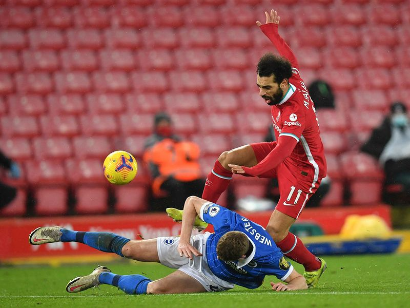 Mo Salah in action during Liverpool v Brighton on February 3, 2021.