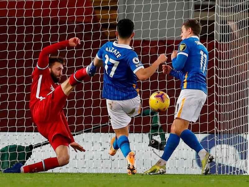 Steven Alzate scores for Brighton against Liverpool on February 3, 2021.