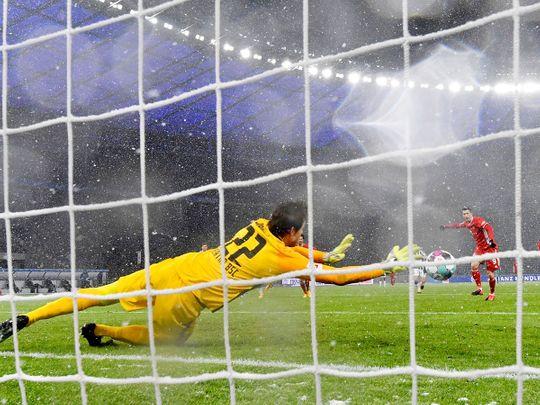 Bayern Munich's Robert Lewandowski saw his penalty saved but they German champions still defeated Hertha Berlin