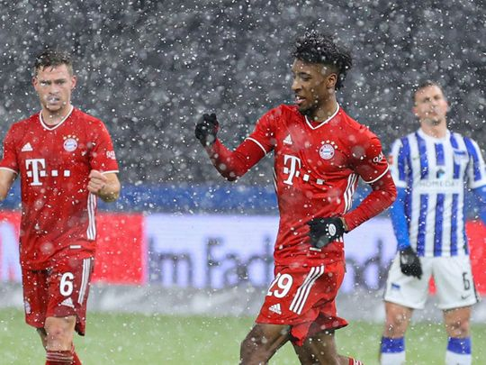 Bayern were held up by a snowstorm after their win over Hertha Berlin
