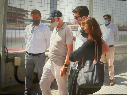 Christophe Hissette's family at the Dubai Autodrome memorial