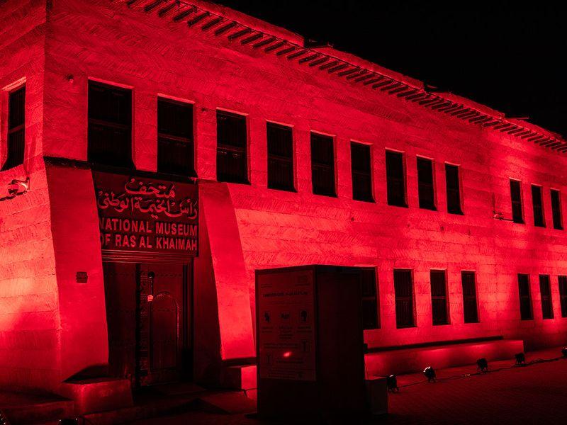UAE landmarks in red