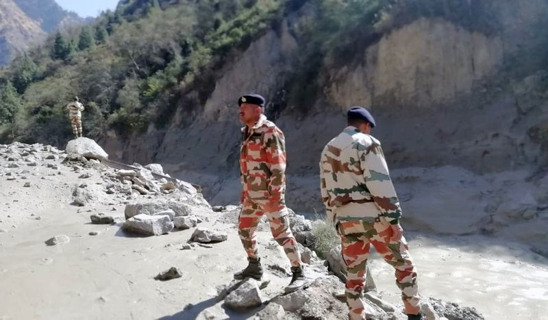 ITBP personnel assess the damages in Tapovan and area of Reni where flash flood occurred. (ANI Photo)