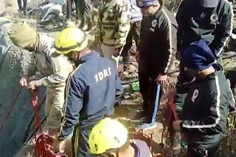 Rescue operation underways after a flash flood occurred following an avalanche at Reni village in Joshimath area of Chamoli district on Sunday. (ANI Photo)