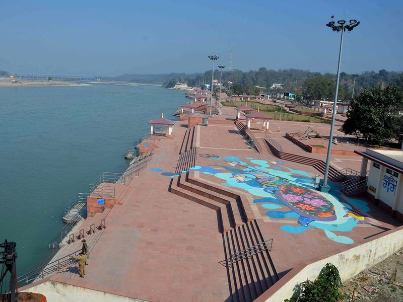 Ghats along the river Ganges are emptied