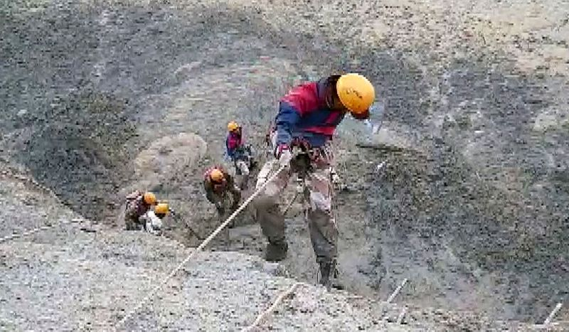 ITBP personnel during a rescue operation at Tapovan and area of Reni where flash flood occurred Reni village in Joshimath area of Chamoli district.