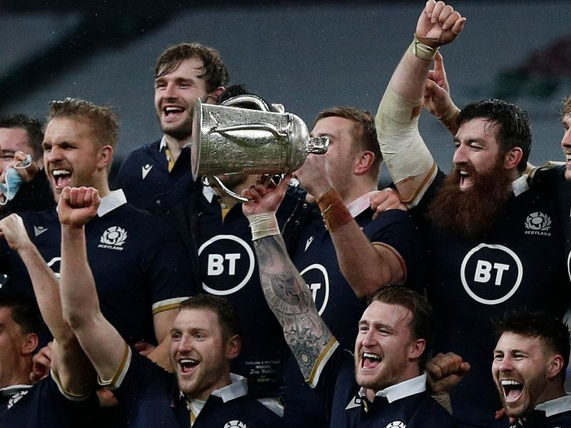 Scotland celebrate their Calcutta Cup Six Nations win over England