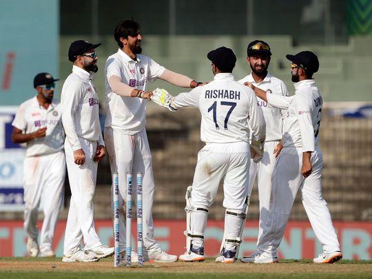 India's Ishant Sharma celebrates his 300th wicket against England