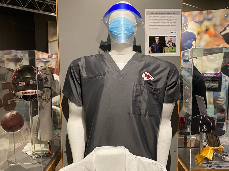 Laurent Duvernay Tardif's scrubs at the Hall of Fame.