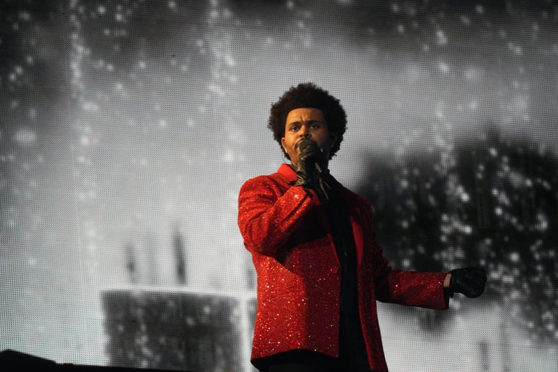 The Weeknd performs at the Super Bowl halftime show
