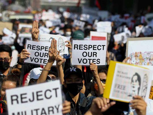 Myanmar demonstrator protest
