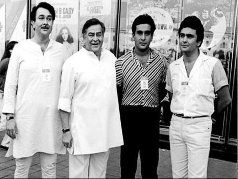 Randhir Kapoor, Raj Kapoor, Rajiv Kapoor and Rishi Kapoor