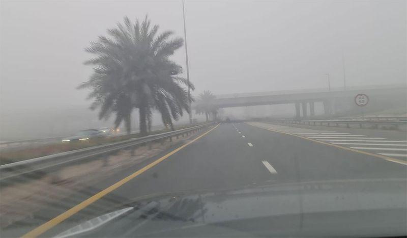 Dense fog in Dubai