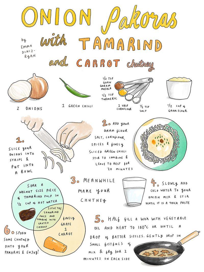 Onion pakoras with tamarind