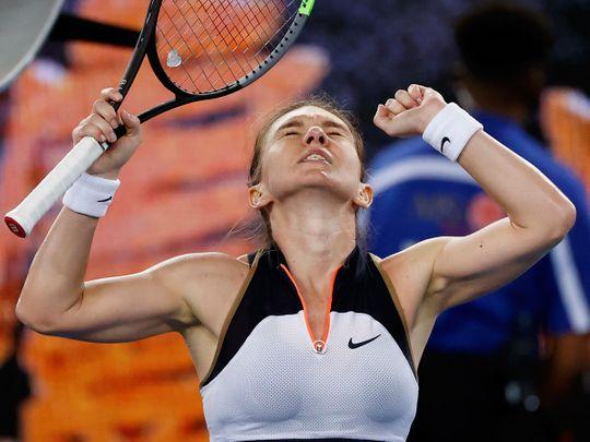 Simona Halep celebrates her win at the Australian Open against Ajla Tomljanovic